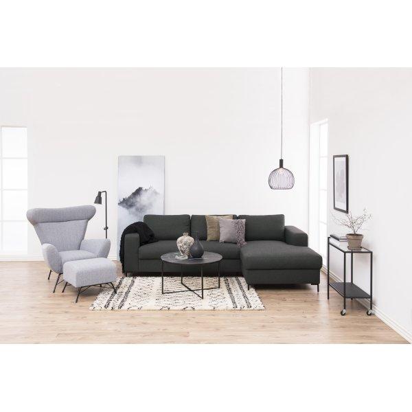Alisma sofabord, Metal/Glas, Rundt, Sort