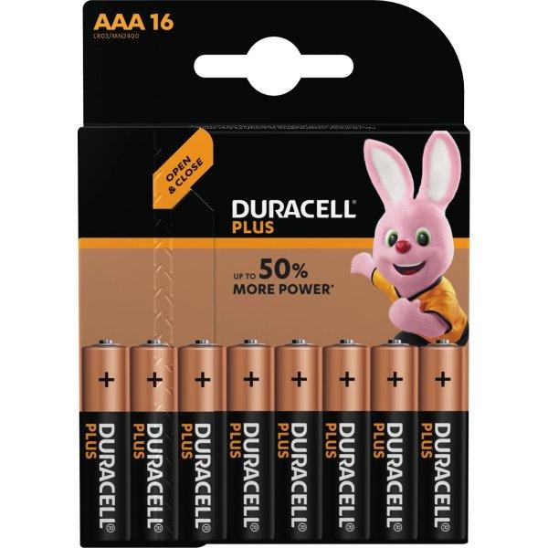 Duracell Plus Power AAA batteripakke, 16 stk.
