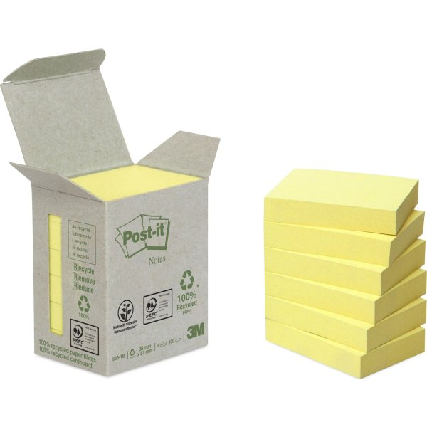 Post-it Green Notes 51 x 38 mm, genbrug, gul