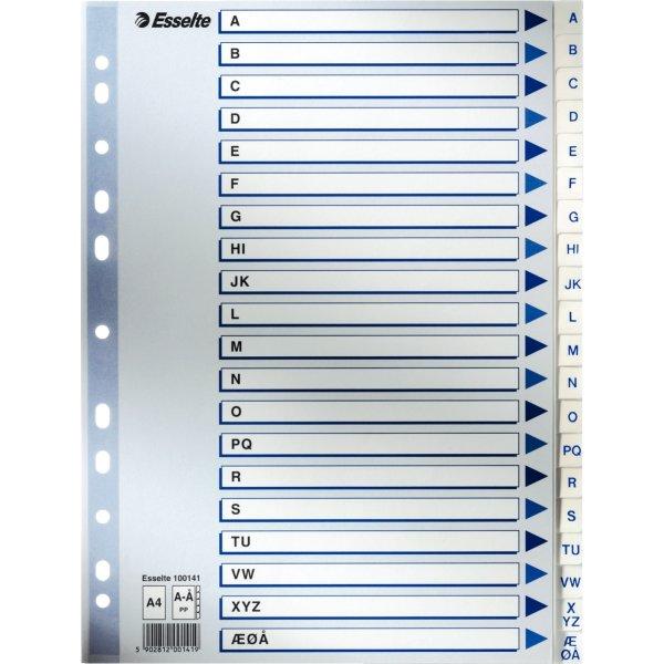 Esselte register A4, A-Å, PP, hvid