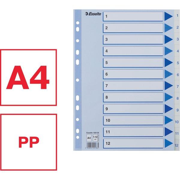 Esselte register A4, 1-12, plast, hvid
