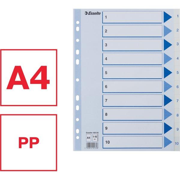 Esselte register A4, 1-10, plast, hvid