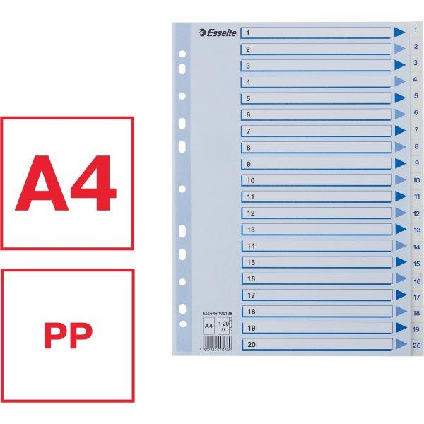 Esselte register A4, 1-20, plast, hvid
