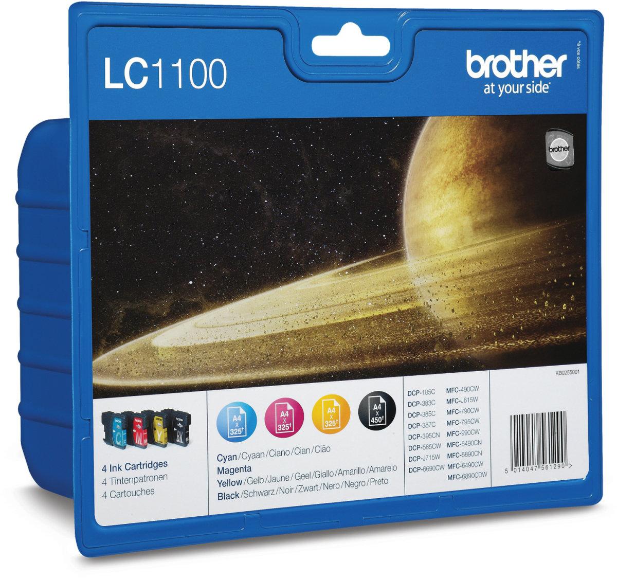 Brother LC1100VALBPDR blækpatroner, sampak