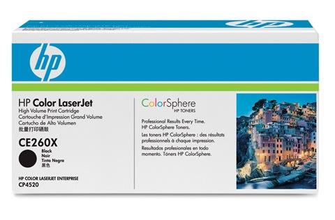 HP CE260X lasertoner, sort, 17000s