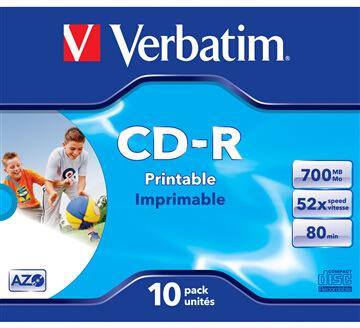 Verbatim CD-R 700mb Printable, Jewelcase, 10 stk