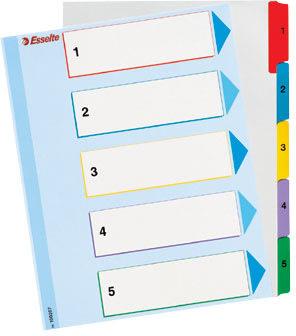 Esselte Mylar register A4, 1-5, overskrivbar