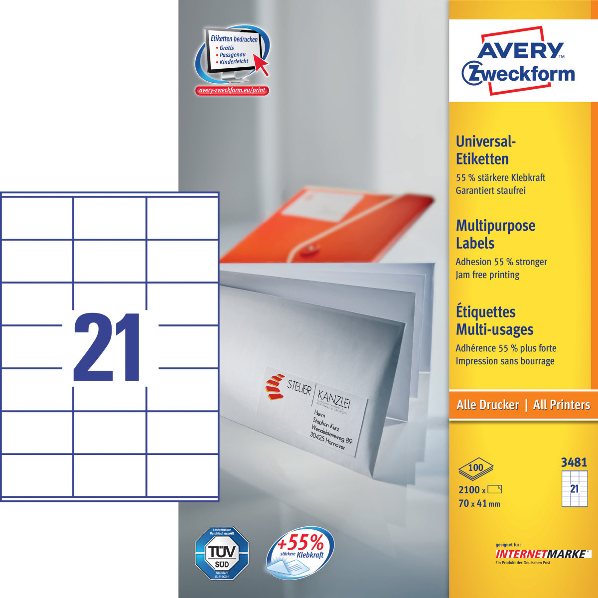 Avery 3481 uni.etiketter, 70 x 41mm, 2100stk