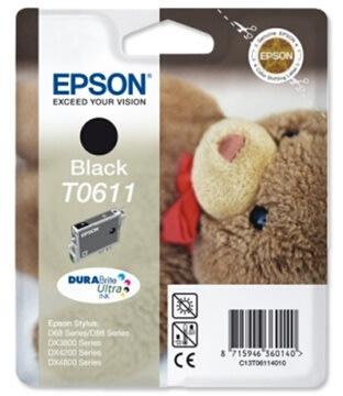 Epson nr.T0611/C13T06114010 blækpatron, sort, 250s