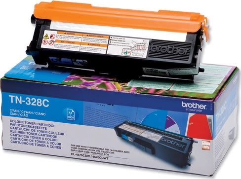 Brother TN328C lasertoner, blå, 6000s