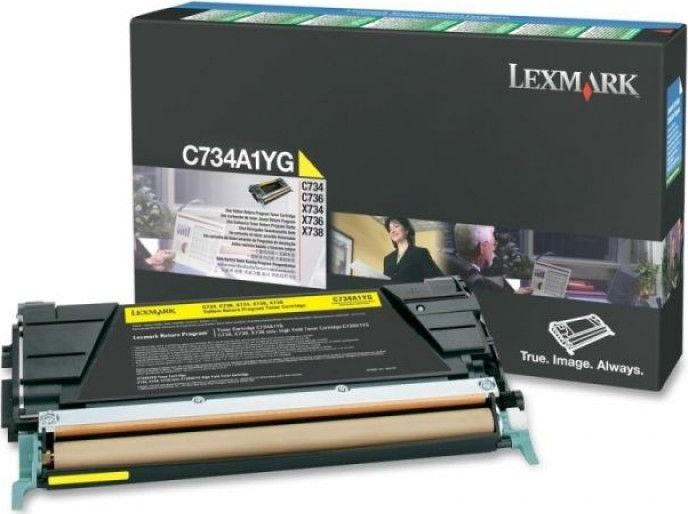 Lexmark C734A1YG lasertoner, gul, 6000s