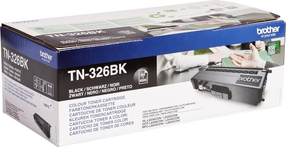 Brother TN326BK lasertoner, sort, 4000 s.