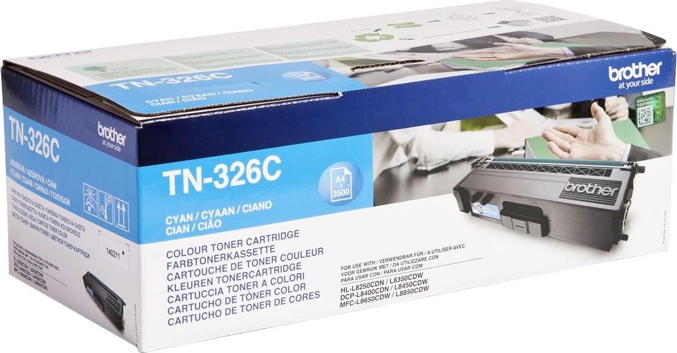Brother TN326C Lasertoner, cyan, 3500 s.