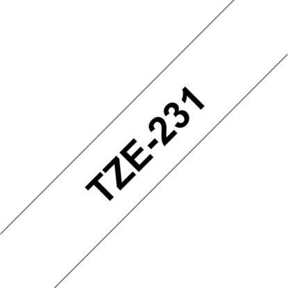 Brother TZe-231 labeltape 12mm, sort på hvid