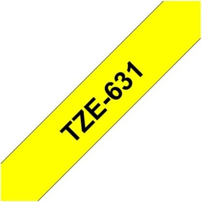 Brother TZe-631 labeltape 12mm, sort på gul