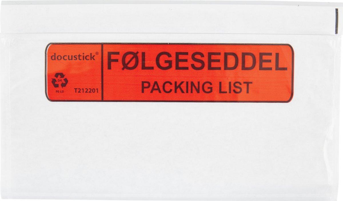 Følgeseddelslomme Følg./Pack., C65, 1000 stk.