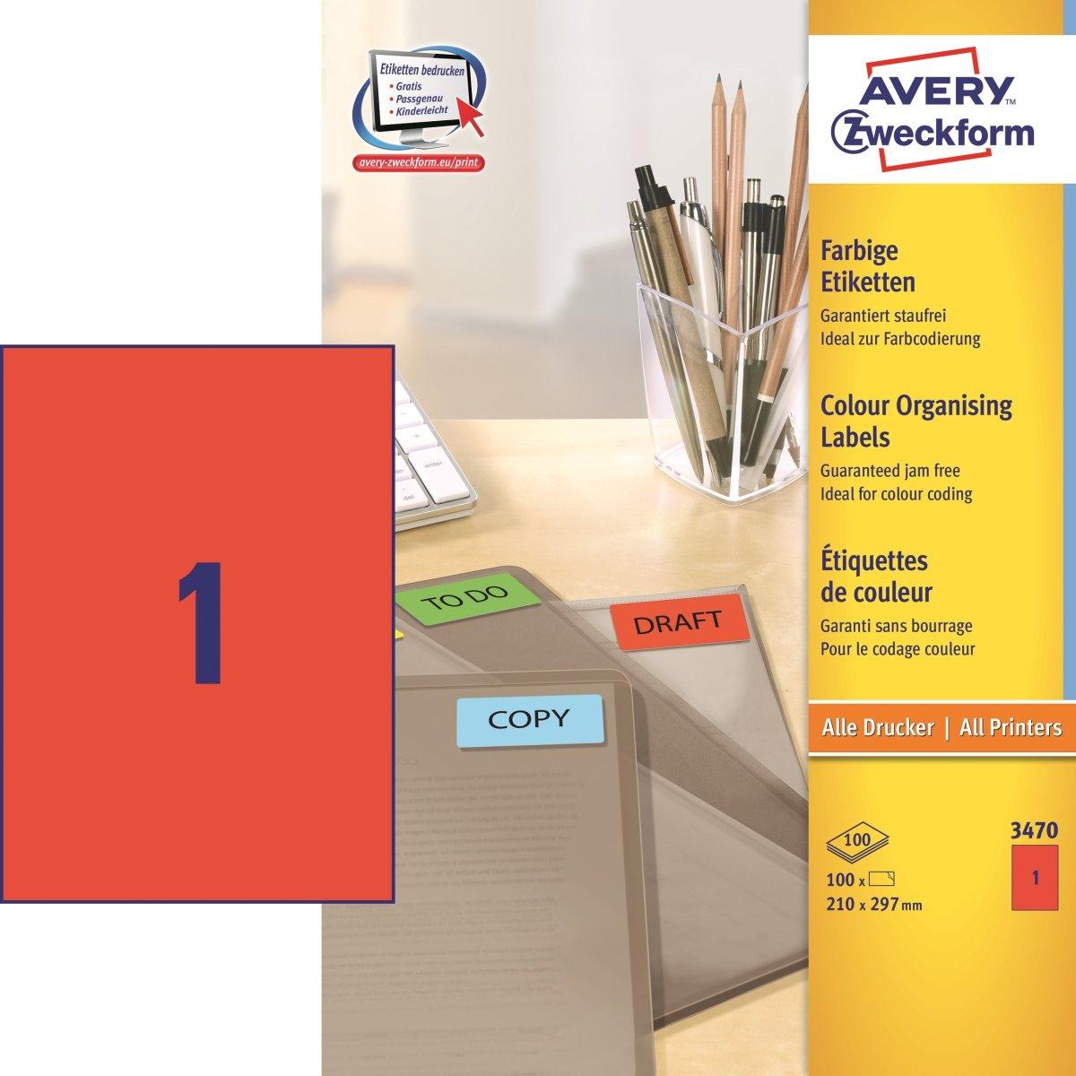 Avery etiketter 210x297mm, røde