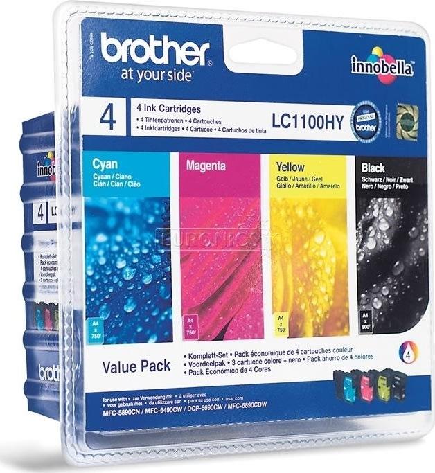 Brother LC1100HYVALBPDR blækpatroner, sampak