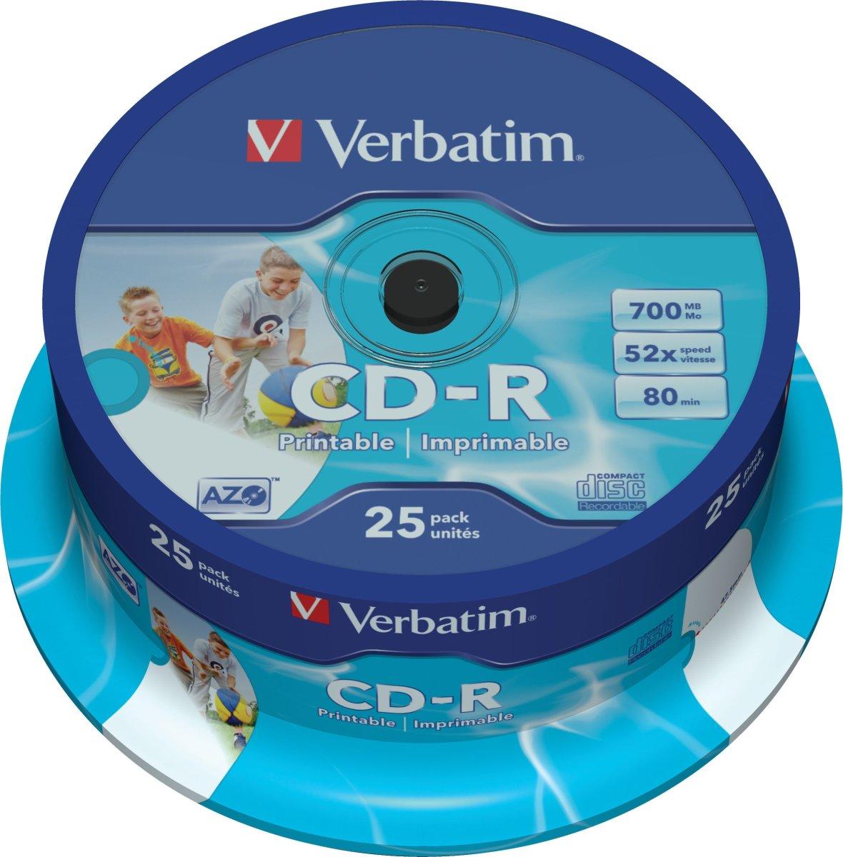Verbatim CD-R 700mb/80min printable, 25stk