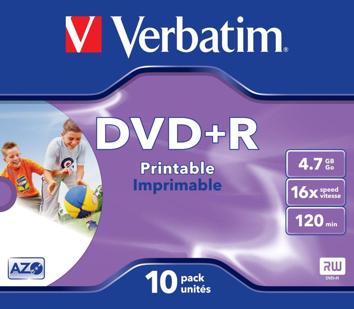 Verbatim DVD+R 4,7GB printable, 10 stk