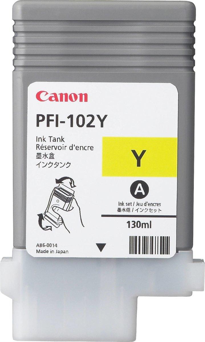 Canon PFI-102Y blækpatron, gul, 130 ml