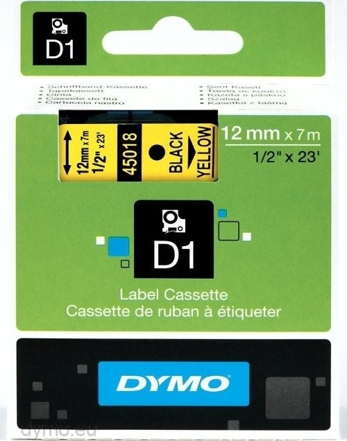 Dymo D1 labeltape 12mm, sort på gul