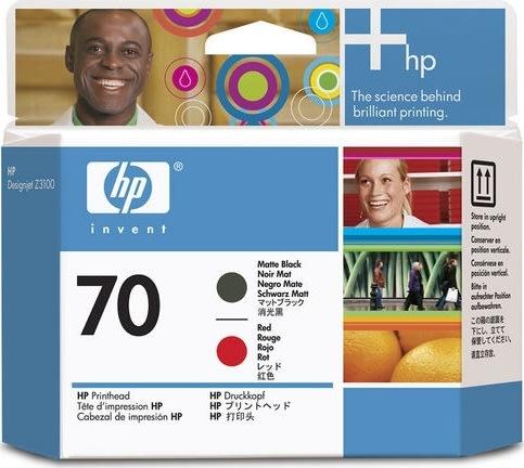 HP nr.70/C9409A printhoved, mat sort og rød