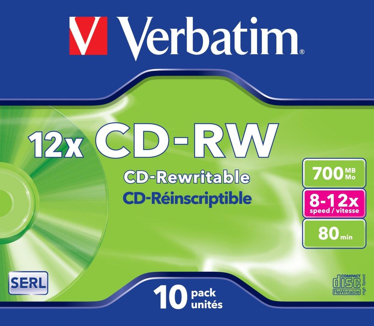 Verbatim CD-RW/700MB Jewel Case, 10 stk