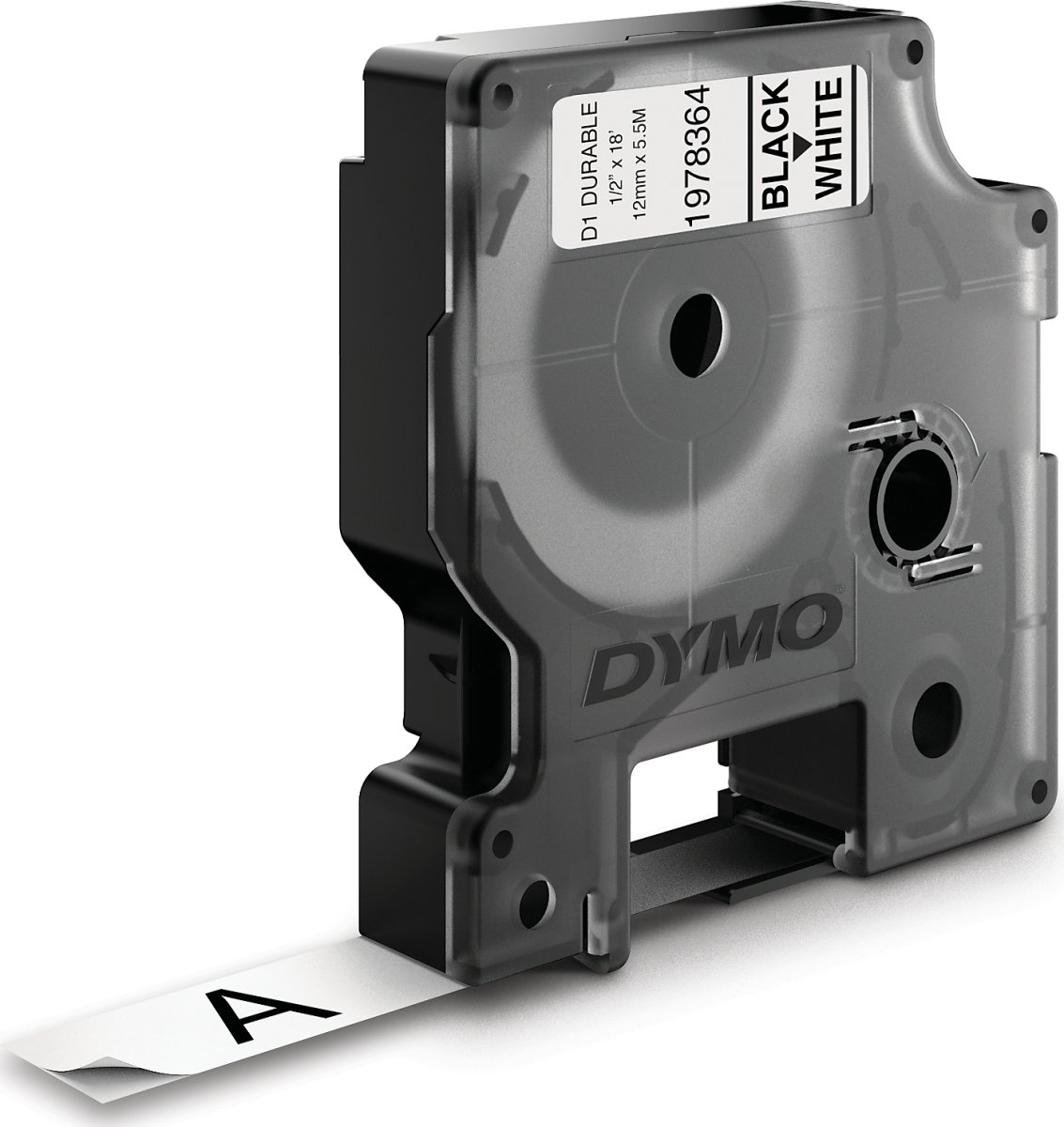 Dymo D1 Durable labeltape 12mm, sort på hvid