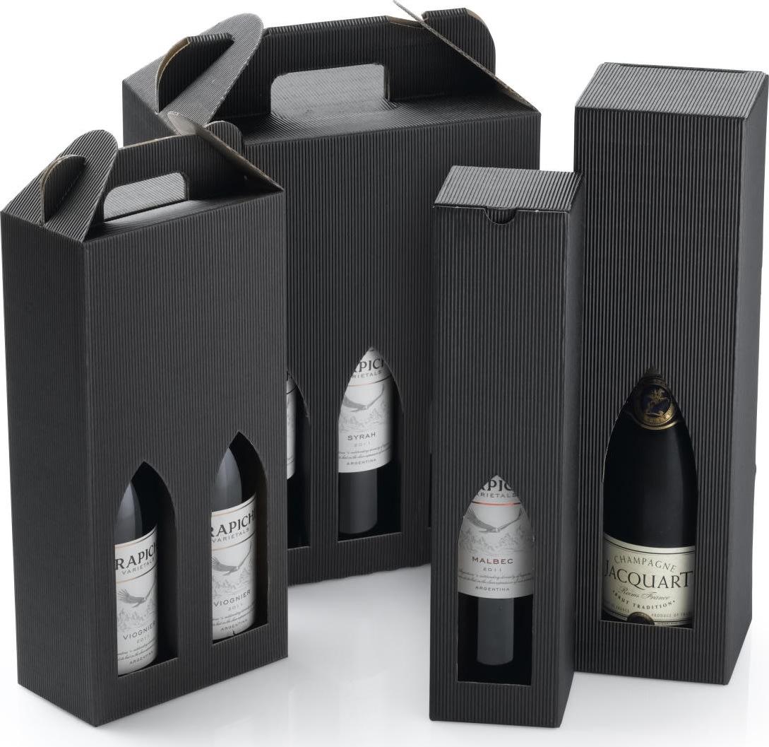 Gaveæske til vin, 2 flasker, sort