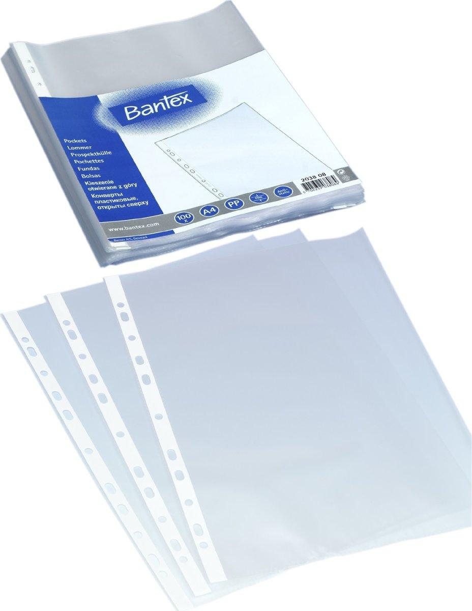 Bantex lomme A4, PP, 0.04mm, top, 100stk