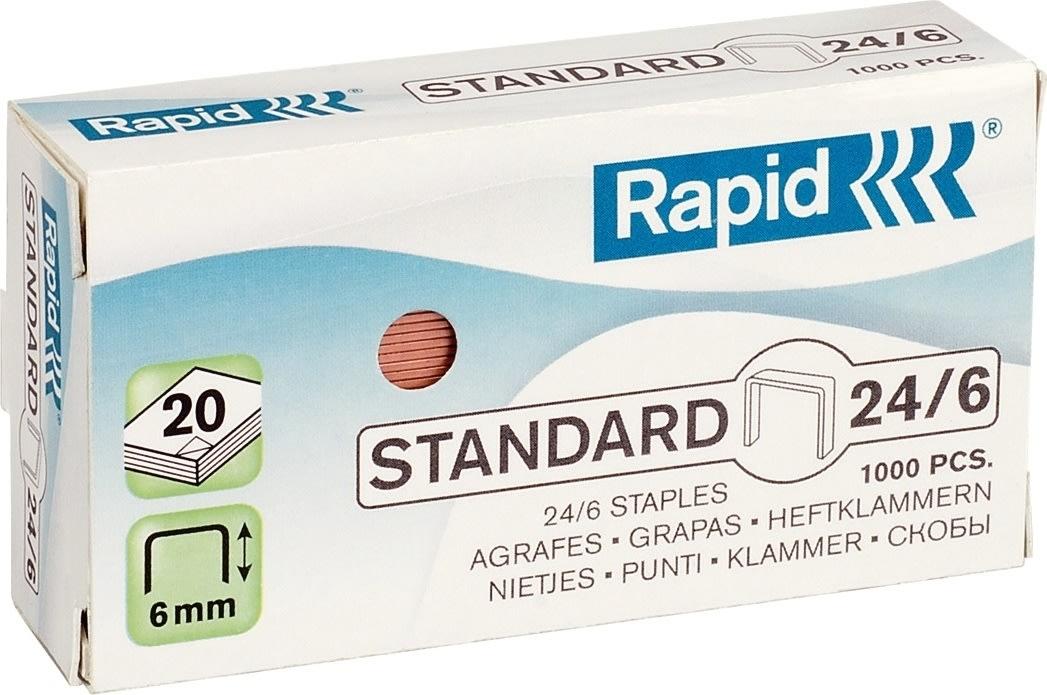 Rapid hæfteklammer 24/6, 1000 stk., kobber