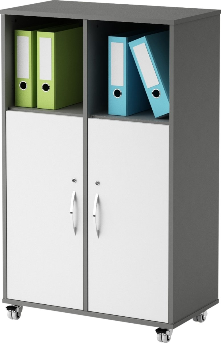Stay skab m/6 rum, 2 låger med lås, antracit/hvid