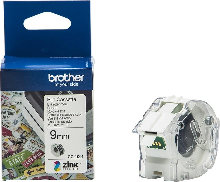 Brother CZ-farvelabeltape, 9mm x 5m, hvid