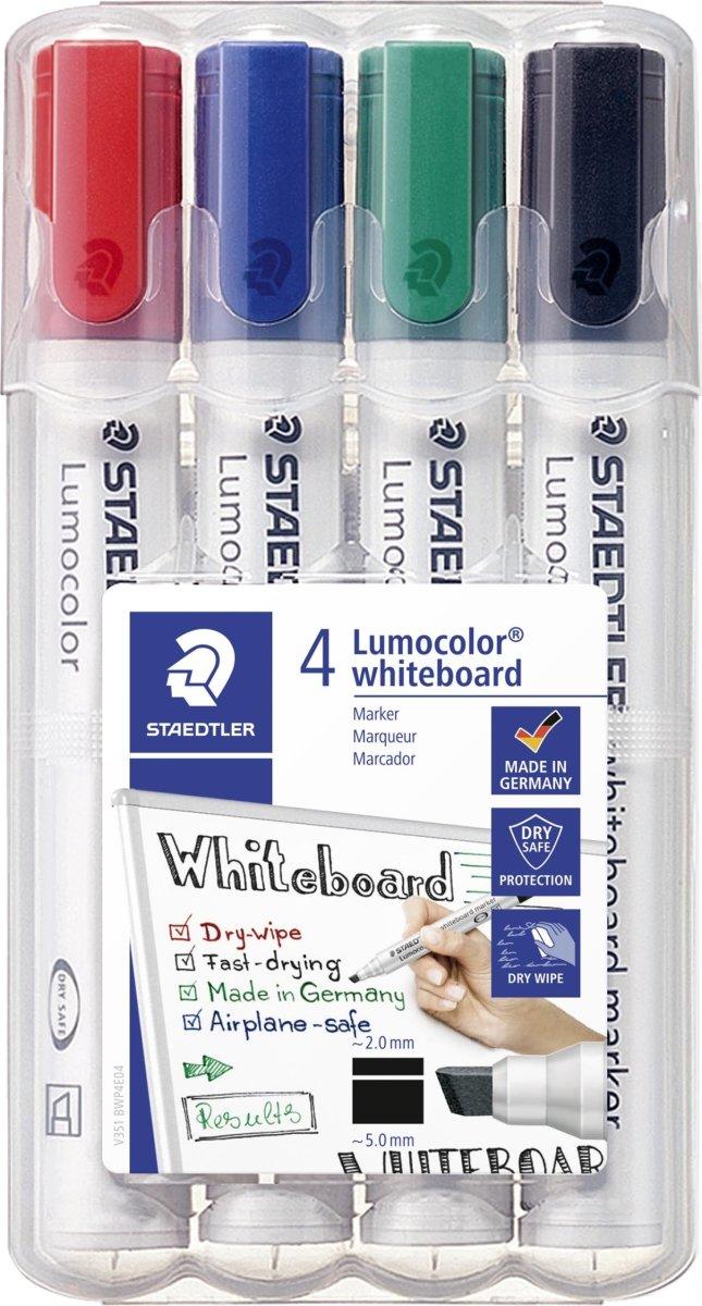 Staedtler Lumocolor whiteboardmarker skrå, 4 ass.