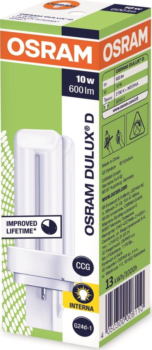 Osram Dulux D Kompakt Lysstofrør 10W/827, G24D-1