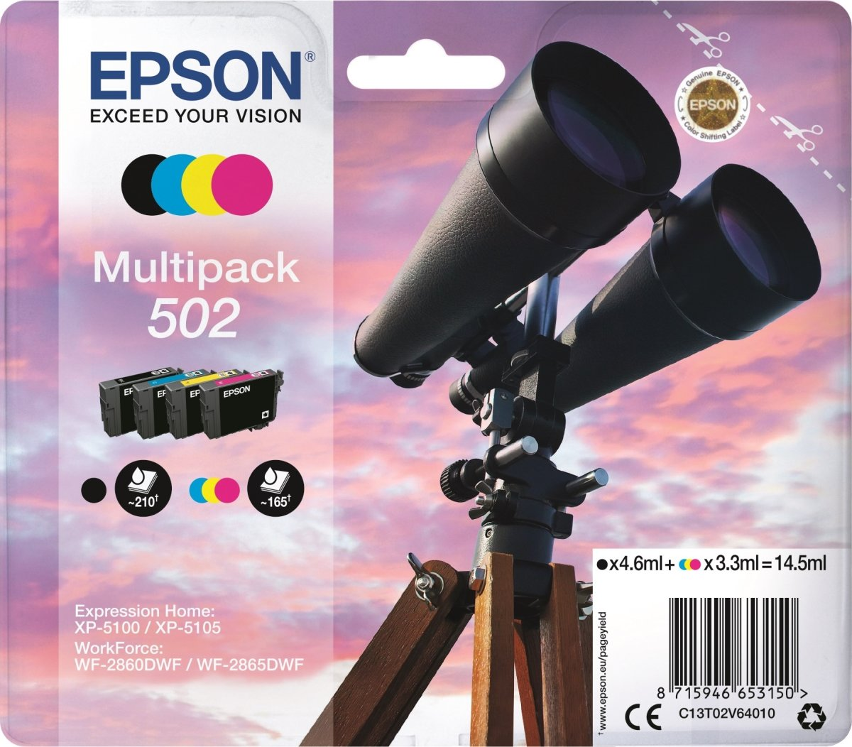 Epson T502 blækpatroner m/alarm, sampak