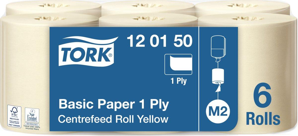 Tork M2 Basic Aftørringspapir, 1-lags, gul, 6 rl.