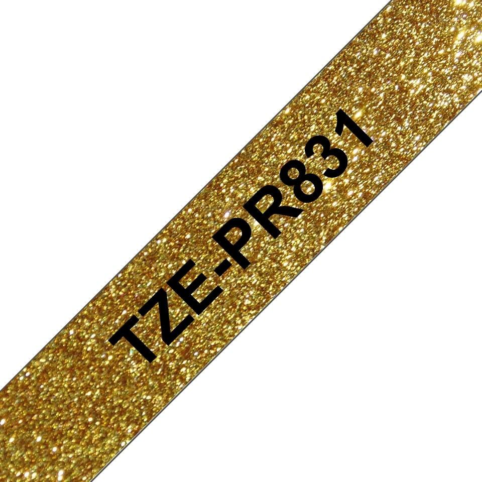 Brother TZe-PR831 labeltape 12mm, sort på guld