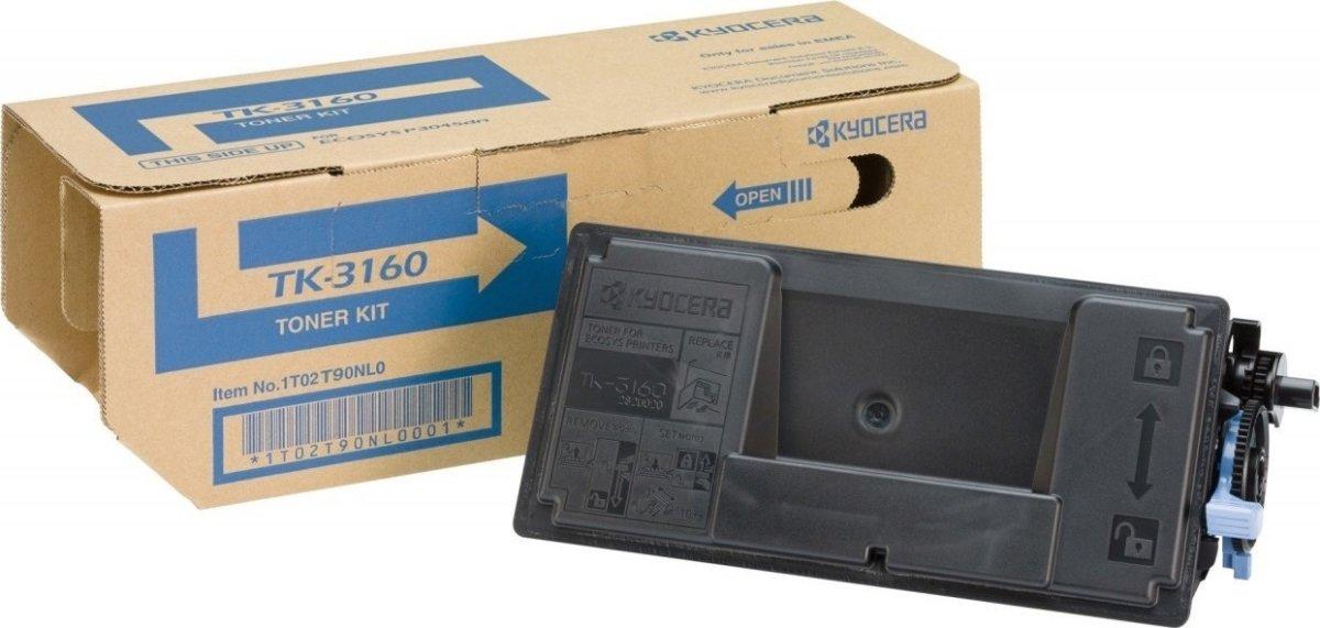 Kyocera TK-3160 lasertoner, sort, 12500s