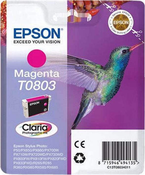 Epson Claria T0803 blækpatron, magenta, m/alarm