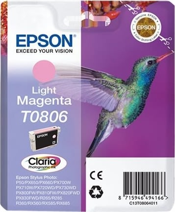 Epson Claira T0806 blækpatron, lys magenta m/alarm