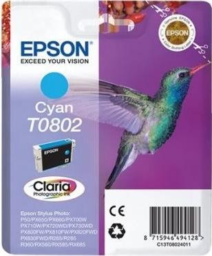 Epson Claria T0802 blækpatron, cyan, m/alarm