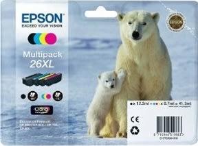 Epson T2636 XL blækpatroner multipak BCMY, m/alarm