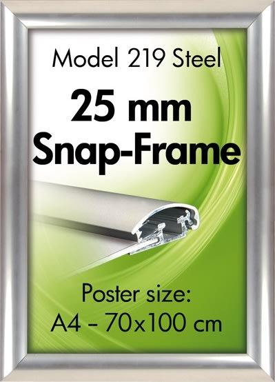 Alu plakatramme, snap-frame, 70 x 100 cm, Grå