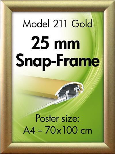 Alu Plakatramme, Snap-frame, 70 x 100 cm, Mat guld