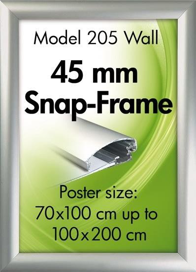 Alu Plakatramme, 45mm Snap-frame, 70x200, Sølv