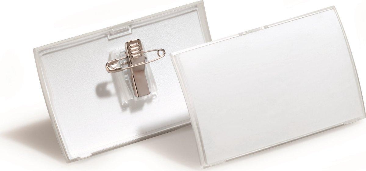 Durable Navneskilt m. nål+klemme 40x75 mm, 25 stk