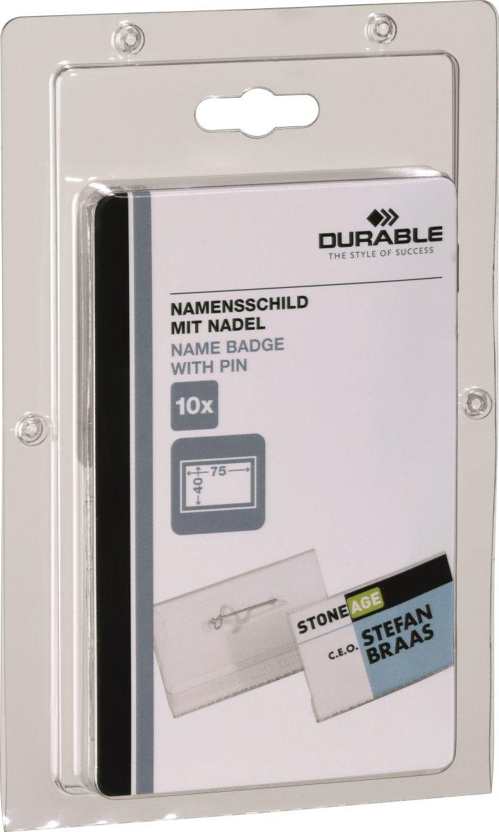 Durable Navneskilt m. nål 40x75 mm, 10 stk.