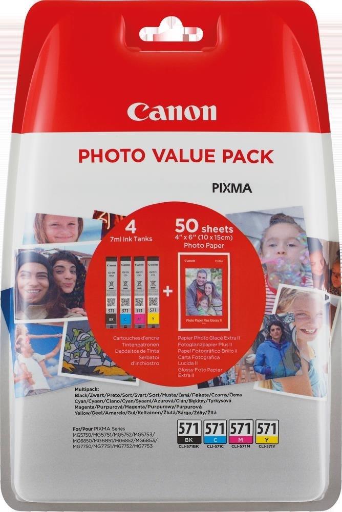Canon CLI-571 blækpatroner+fotopapir BCMY, blister